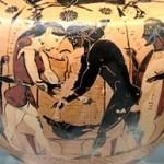 Atalanta e Peleo si contendono la pelle e il trofeo del cinghiale calidonio